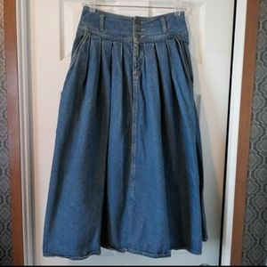 Vintage Long Pleated Modest Denim Jean Skirt